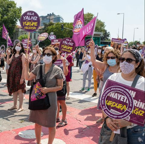 women's demonstration for the istanbul convention in turkey