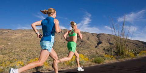 women running in desert