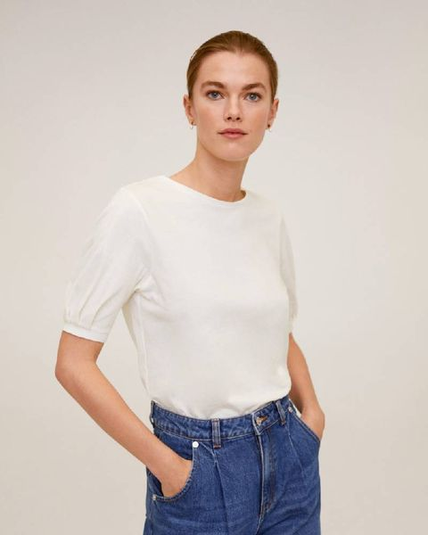 Clothing, White, Neck, Shoulder, Sleeve, T-shirt, Jeans, Denim, Waist, Top,
