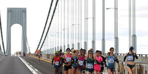 Women's lead pack on Verrazano Bridge at 2014 NYC Marathon