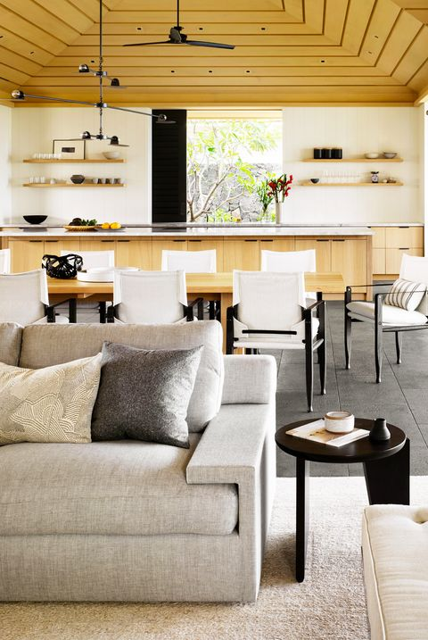 monochromatic open floor plan living room and kitchen