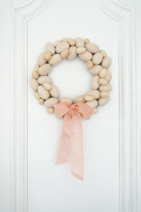 wood egg easter wreath