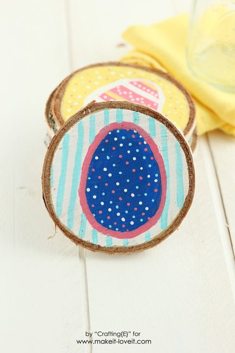 easter egg wood slice coasters