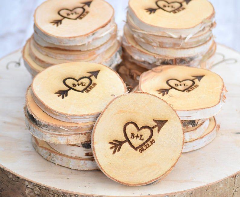 Birch bark wooden craft hearts x 14