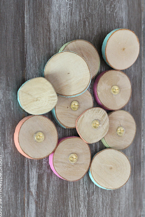 wood slice thumbtacks crafts