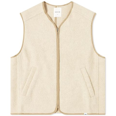 white wool zipper vest