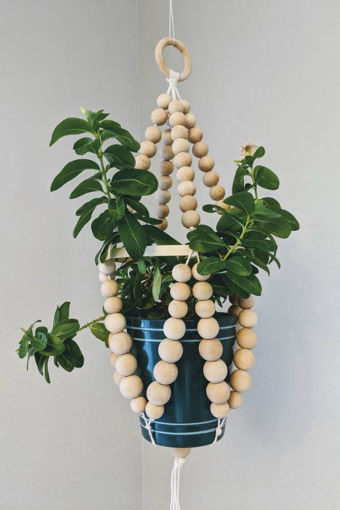 wooden bead planter