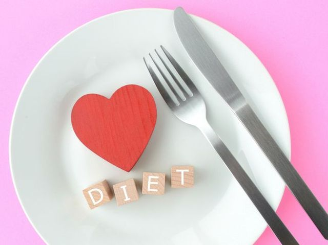 wooden blocks with diet words on plate