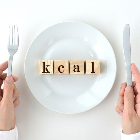 wooden blocks with kcal words on white plate with human's hands