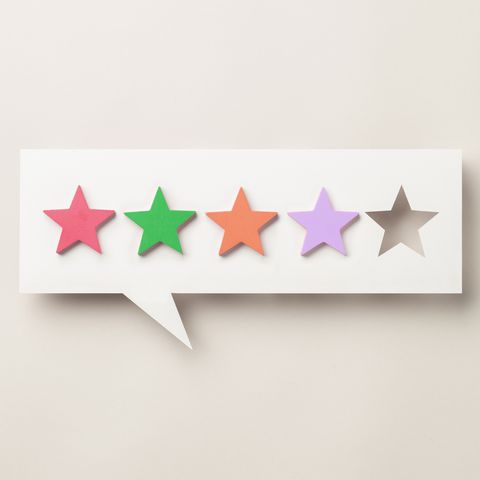 wooden five star shape with chat bubble