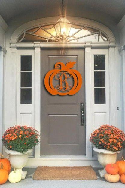 thanksgiving decorations wooden pumpkin monogram door hanger