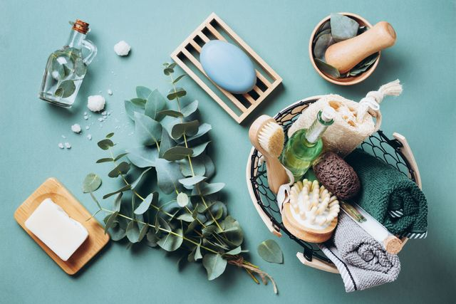 eucalyptus branches and spa bathroom tools