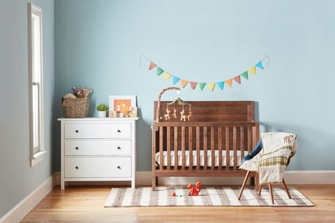 Infant bed, Product, Room, Furniture, Nursery, Wall, Changing table, Interior design, Bed, Wall sticker,