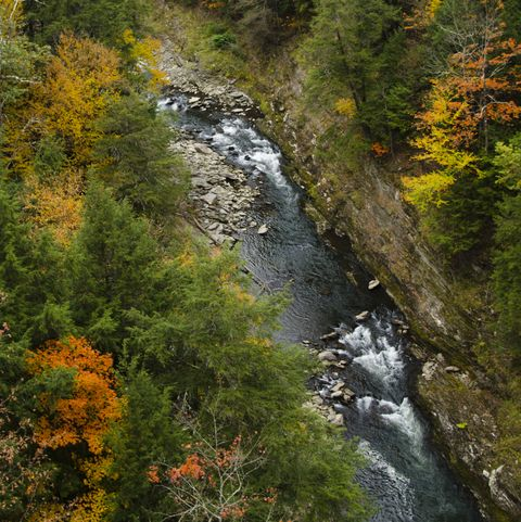 fall foliageWoodstock, Vermont, beautiful gorge at Quechee State Park with fall foliage colors