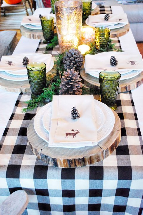 woodsy christmas table decorations ideas