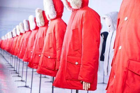 Clothing, Red, Outerwear, Jacket, Hood, Coat, Sleeve,
