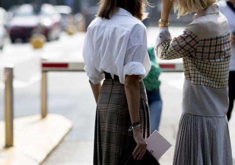 Clothing, White, Street fashion, Waist, Fashion, Plaid, Tartan, Pattern, Design, Outerwear,