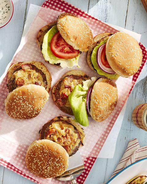 worcestershire glazed burgers on sesame buns