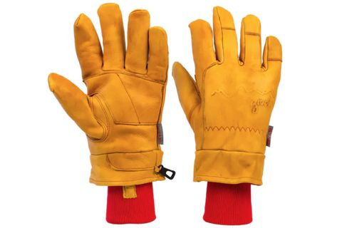 Glove, Safety glove, Personal protective equipment, Yellow, Tan, Bicycle glove, Fashion accessory, Hand, Leather, Golf glove,