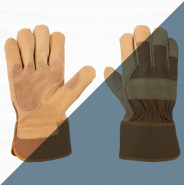 pair of tan work gloves
