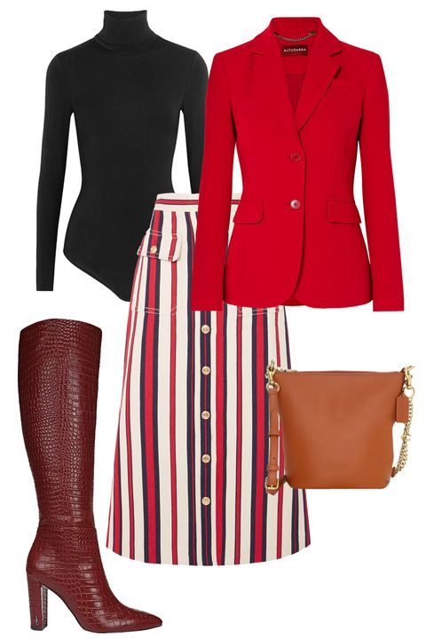 Clothing, Red, Footwear, Outerwear, Brown, Fashion, Riding boot, Blazer, Jacket, Sleeve,