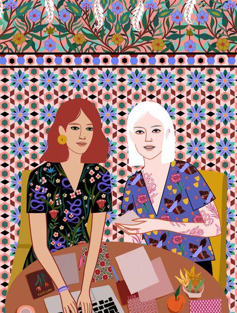 Workation illustratie door Sasha Ignatiadou voor ELLE november 2019