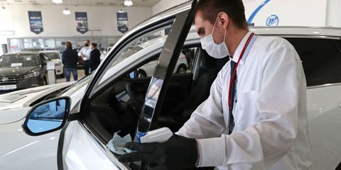service businesses resume work in novosibirsk, russia, amid covid 19 pandemic
