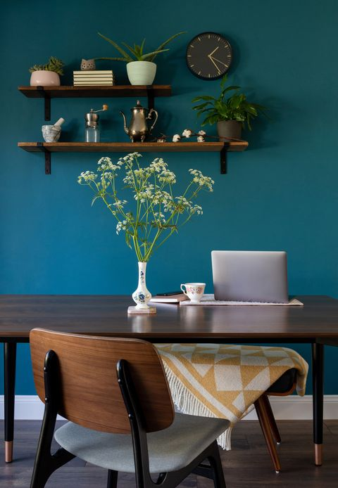 working from home with laptop at kitchen table interior design wallpaper