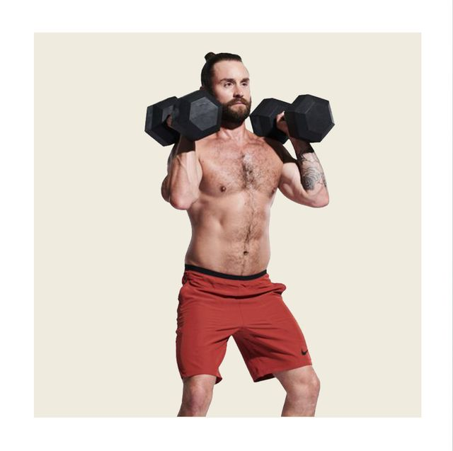 Weights, Exercise equipment, Shoulder, Arm, Muscle, Chest, Joint, Sports equipment, Standing, Kettlebell,