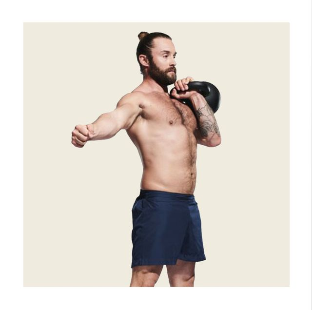 weights, exercise equipment, kettlebell, shoulder, arm, barechested, muscle, chin, sports equipment, abdomen,