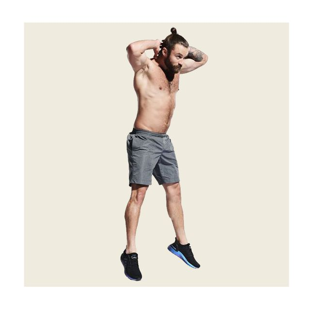 Exercise equipment, Weights, Shoulder, Arm, Standing, Leg, Joint, Human leg, Muscle, Dumbbell,