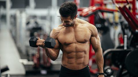 Workout. Gym. Weight Training. Bodybuilding. Bodybuilder having training in the gym