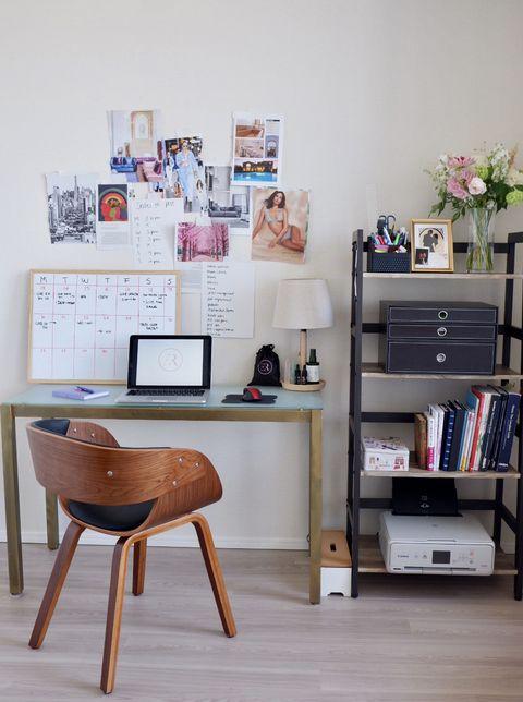 Furniture, Shelf, Desk, Room, Shelving, Interior design, Table, Wall, Computer desk, Writing desk,