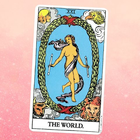 the tarot card the world, showing a nude woman wrapped in a white scarf, floating in the sky and surrounded by a leafy wreath
