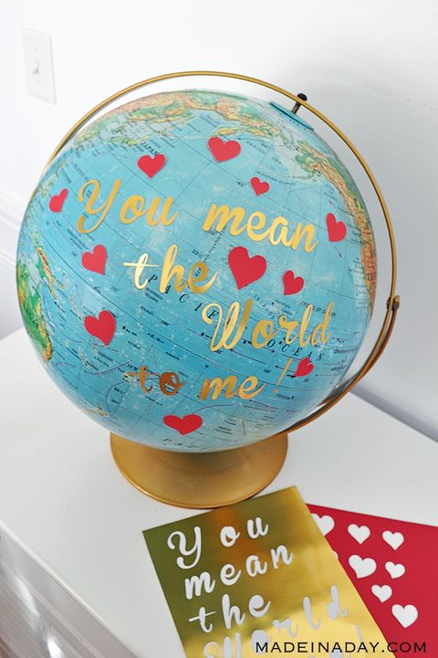 world globe that says you mean the world to me on it