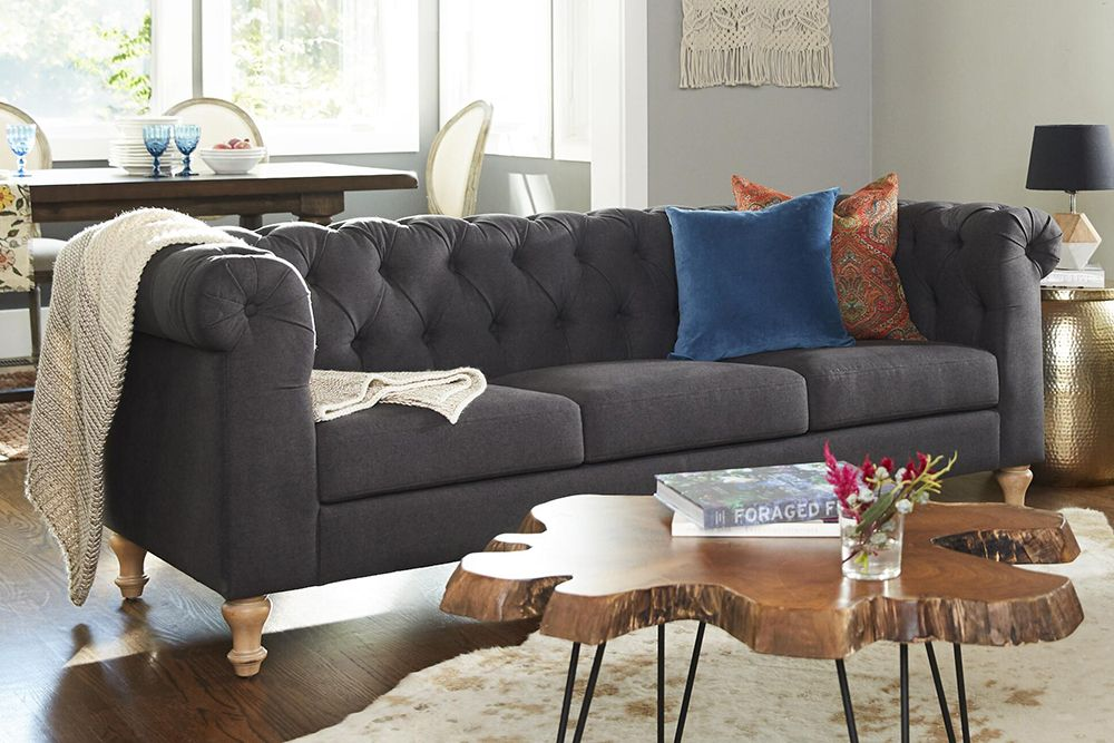 World Market Charcoal Gray Quentin Chesterfield Sofa