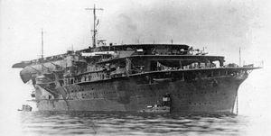 World War Two Japanese Imperial Navy aircraft carrier 'The Kaga' at sea.