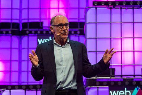 World Wide Web Inventor Tim Berners-Lee is seen addressing...