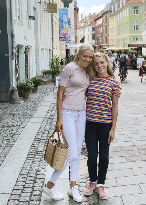 designer sarah bartholomew and her daughter lilly outside the royal palace in sweden