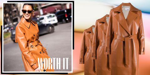 Clothing, Trench coat, Coat, Outerwear, Leather, Overcoat, Jacket, Leather jacket, Fashion, Street fashion,