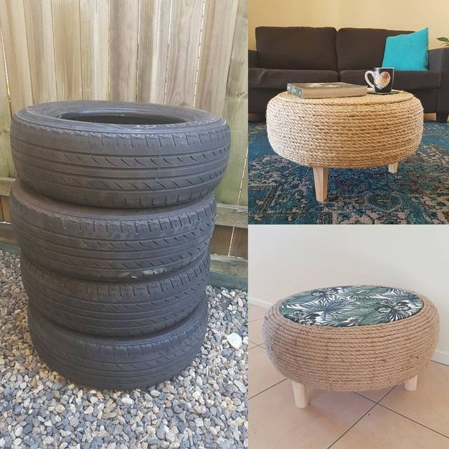 one woman creates stylish woven twine coffee tables from rubber car tyres