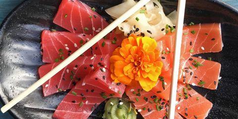 Garnish, Dish, Sashimi, Food, Cuisine, Plant, Flower, Japanese cuisine, Smoked salmon, appetizer,