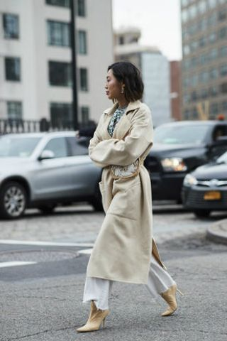 Clothing, Street fashion, Photograph, Trench coat, Coat, Fashion, Snapshot, Footwear, Outerwear, Beige,