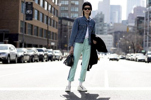 Street fashion, Photograph, Clothing, Fashion, Footwear, Snapshot, Denim, Jeans, Coat, Shoe,