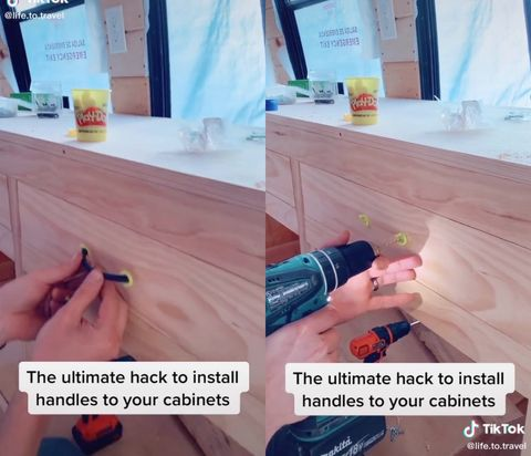 tiktok playdough hack to get perfect spacing to drill holes for cabinet handle