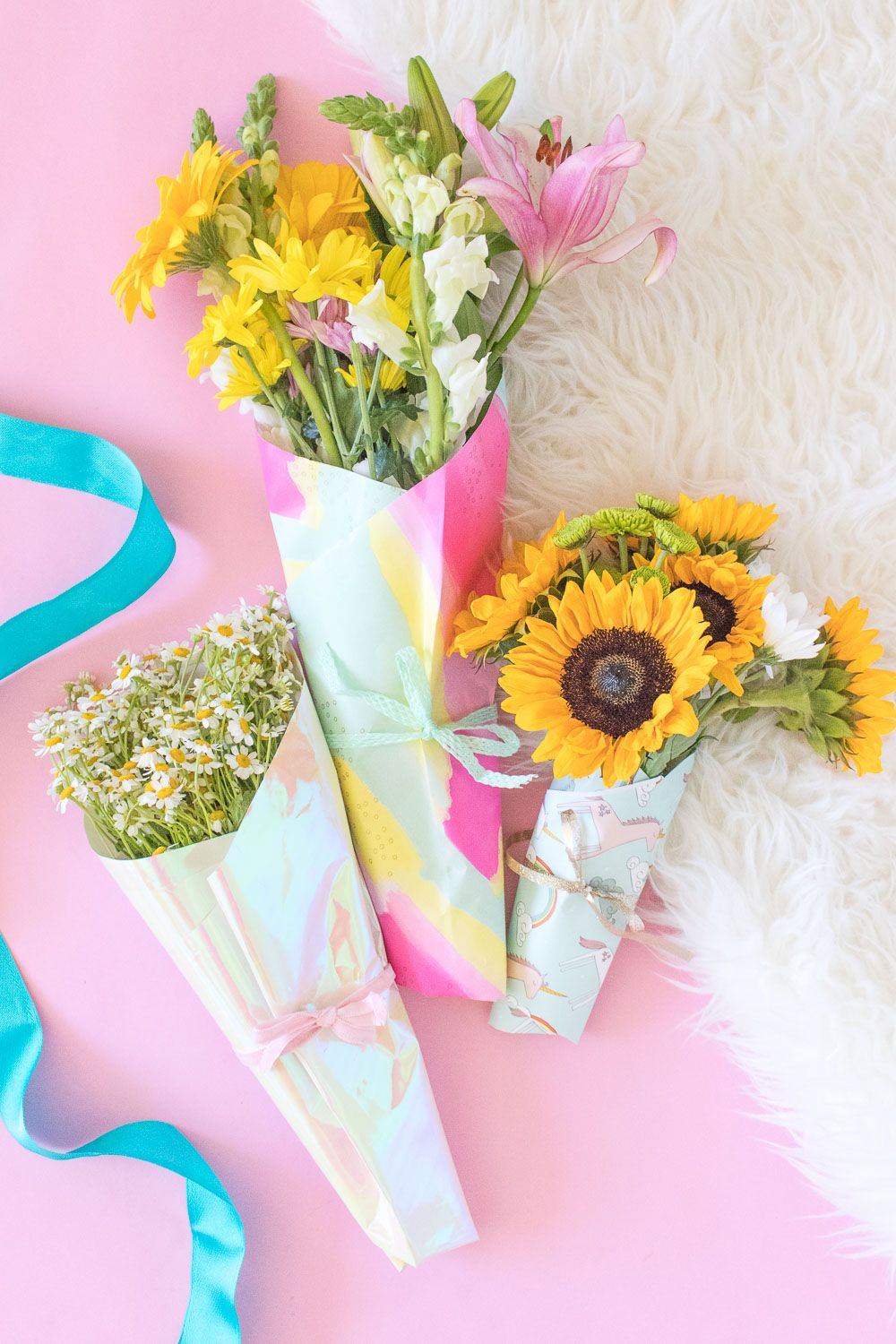 wrapping paper flower package mothers day craft