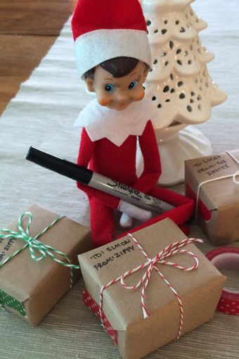 elf on the shelf wrapping presents