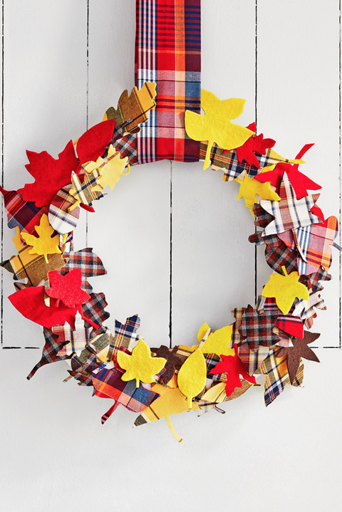 plaid fall wreath