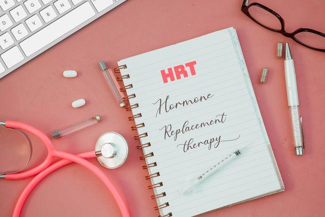 hrt written on female doctor desk