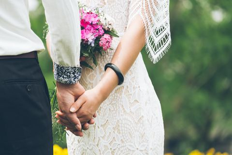 Photograph, White, Yellow, Pink, Green, Dress, Interaction, Gesture, Hand, Holding hands,